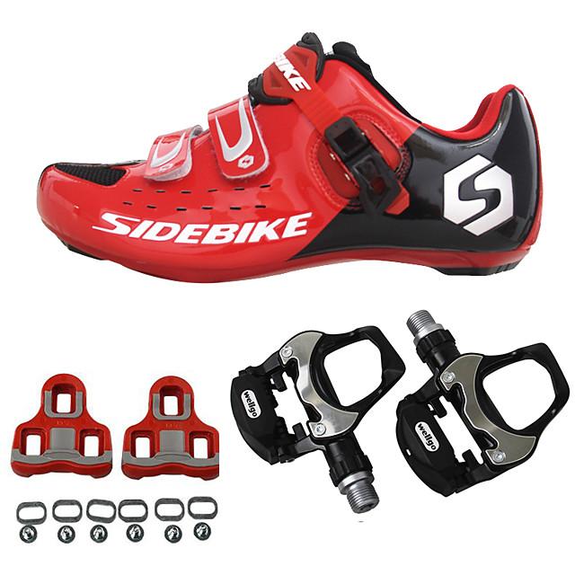 SIDEBIKE Yetişkin Pedallı ve Kelepçeli Bisiklet Ayakkabıları Yol Bisiklet Ayakkabıları Karbon fiber Tamponlama Bisiklet YAKUT Erkek Bisiklet Ayakkabıları / Hava Alan File