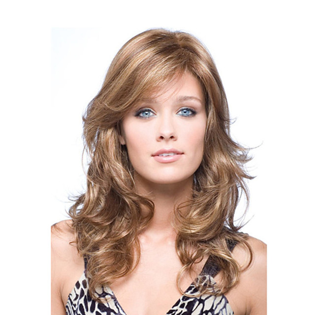 Synthetic Wig Curly Asymmetrical With Bangs Wig Long Brown Synthetic Hair Women's Fashionable Design Exquisite Fluffy Brown
