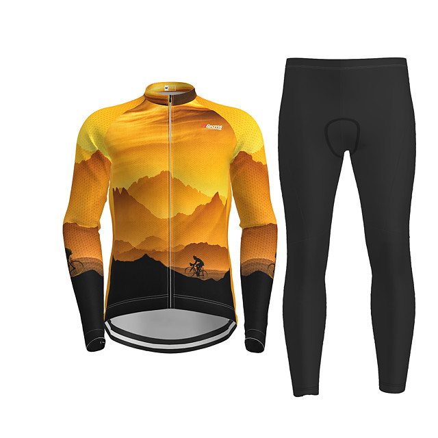Men's Long Sleeve Cycling Jersey with Tights Black / Yellow Novelty Bike Breathable Quick Dry Moisture Wicking Sports Novelty Mountain Bike MTB Road Bike Cycling Clothing Apparel / Micro-elastic