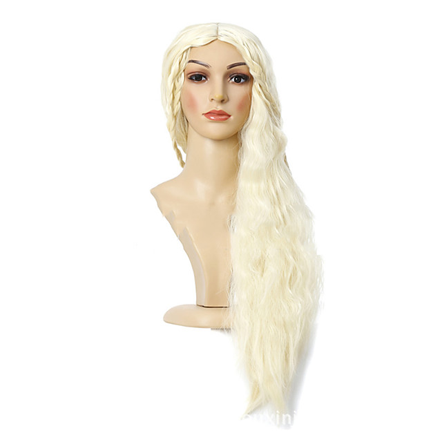 Synthetic Wig Daenerys Targaryen Game of Thrones Curly Middle Part Wig Very Long Light Blonde Synthetic Hair 30 inch Women's Anime Cosplay Middle Part Bob Blonde