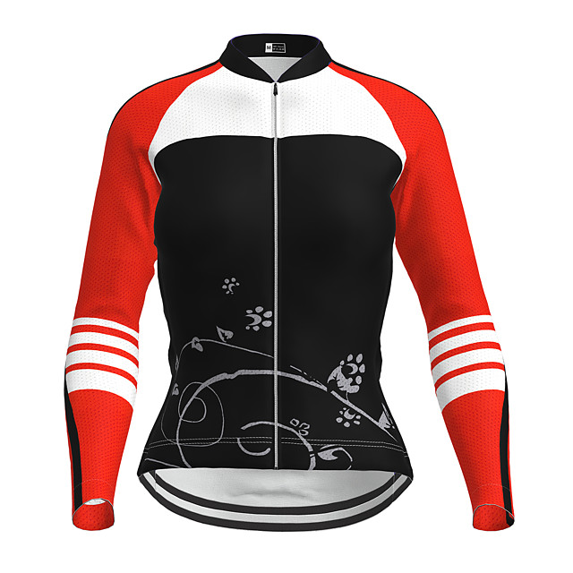 21Grams Women's Long Sleeve Cycling Jersey Winter Polyester Purple Yellow Red Novelty Bike Jersey Top Mountain Bike MTB Road Bike Cycling Quick Dry Back Pocket Sports Clothing Apparel / Micro-elastic