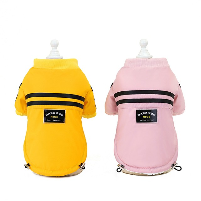 Dog Cat Coat Jacket Solid Colored Casual / Daily Winter Dog Clothes Puppy Clothes Dog Outfits Yellow Pink Costume for Girl and Boy Dog Polyester S M L XL XXL