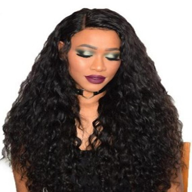 Synthetic Wig Curly Afro Curly Middle Part Wig Medium Length Natural Black Synthetic Hair Women's Fashionable Design Fluffy Black