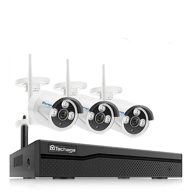 Techage Wireless NVR 8CH CCTV System 1080P Indoor Outdoor Security Camera System With 3PCS 1080P WiFi Cameras IP66 Waterproof With Audio Mobile&PC Remote Night Vision