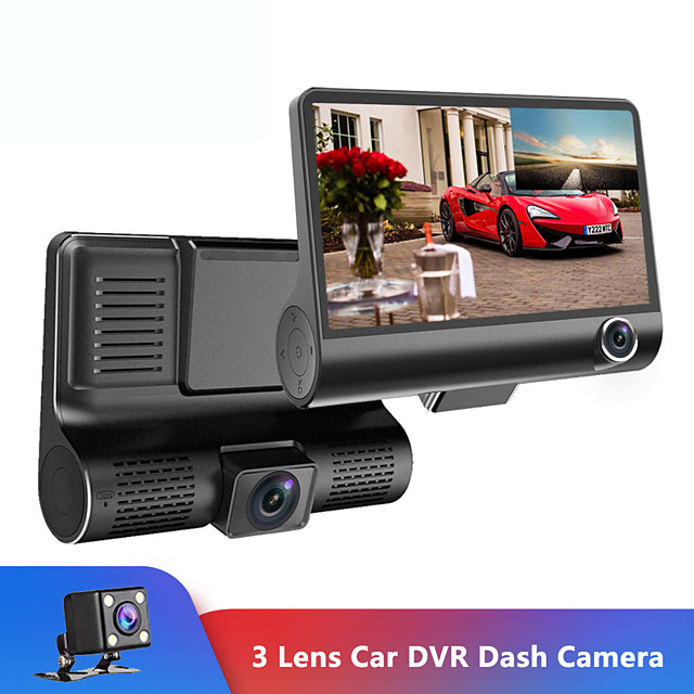 4 ''Drie-weg Auto Camera Drie Lens Video Registrator Dash Cam Video Recorder G-sensor Auto dashcam DVR Rijden Recorder