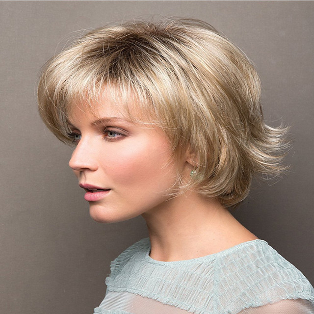 Synthetic Wig Curly kinky Straight Pixie Cut Wig Short Light Blonde Synthetic Hair Women's Soft Easy to Carry Comfortable Blonde