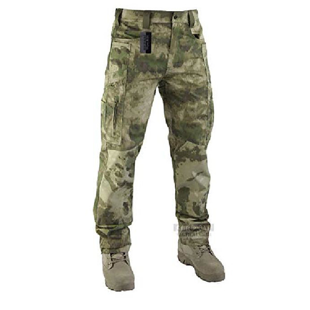 lightweight men's ripstop pants outdoor military camo cargo trousers for camping hiking (fg camo, l)
