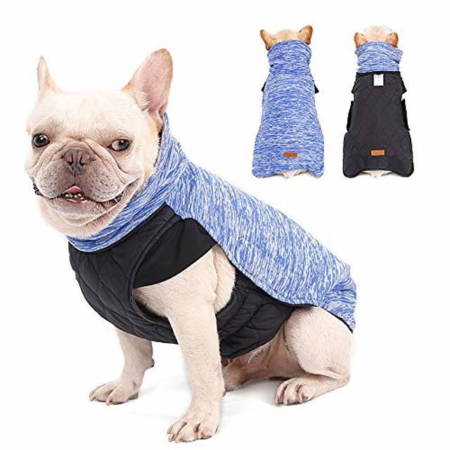 dog winter coat pet warm reversible jacket soft resilience turtleneck vest (size m(back:14