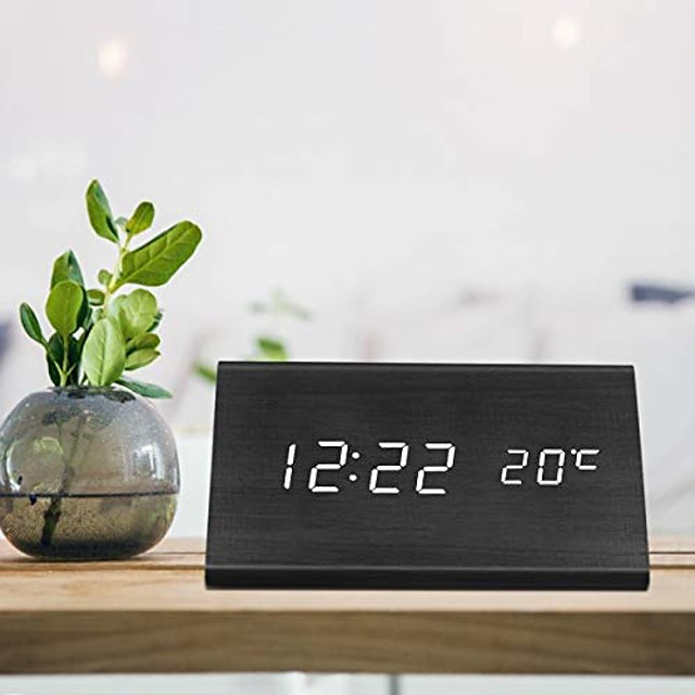 digital alarm clock, triangle wooden clock with led time display, 3 alarm settings, humidity & temperature, electric clocks for bedroom & bedside, black