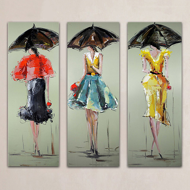 Oil Painting Hand Painted - Abstract People Modern Rolled Canvas (No Frame) / Three Panels