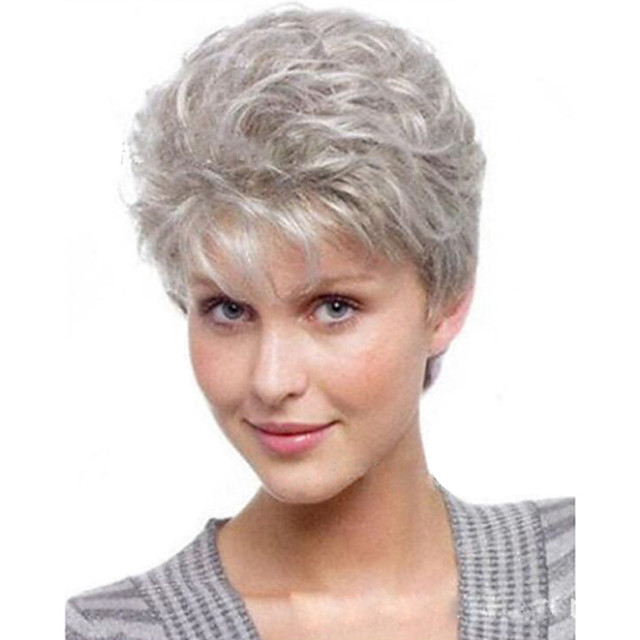 Synthetic Wig kinky Straight Asymmetrical Wig Short Silver grey Synthetic Hair 14 inch Women's Fashionable Design Exquisite Fluffy Silver
