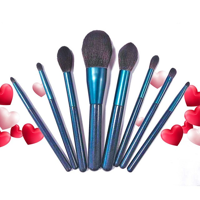 8 Pcs Makeup Brushes Set Face Powder Foundation Blending Blush Contour Concealer Eye Shadow Indigo Make Up Brushes Kit