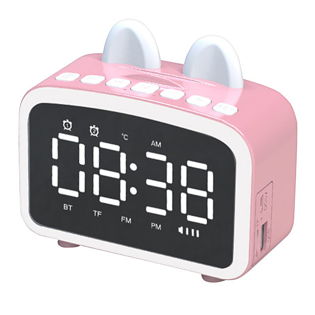 Q8 Bluetooth 5.0 Wireless Speaker LCD Mirror Screen Clock FM Radio Handsfree Call Column With Microphone Stereo Subwoofer