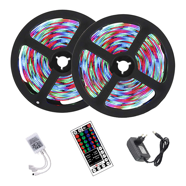 10m 2x5m Led Strip Lights Rgb Tiktok Lights 2835 600led Strips Lighting Color Changing With 44 Key Ir Remote Ideal For Home Kitchen Christmas Tv Back Lights Dc 12v 7715652 2020 19 79