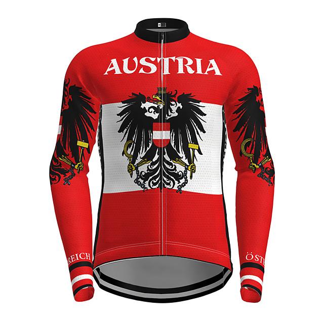 21Grams Men's Long Sleeve Cycling Jersey Red Bike Jersey Top Mountain Bike MTB Road Bike Cycling Quick Dry Sports Clothing Apparel / Micro-elastic