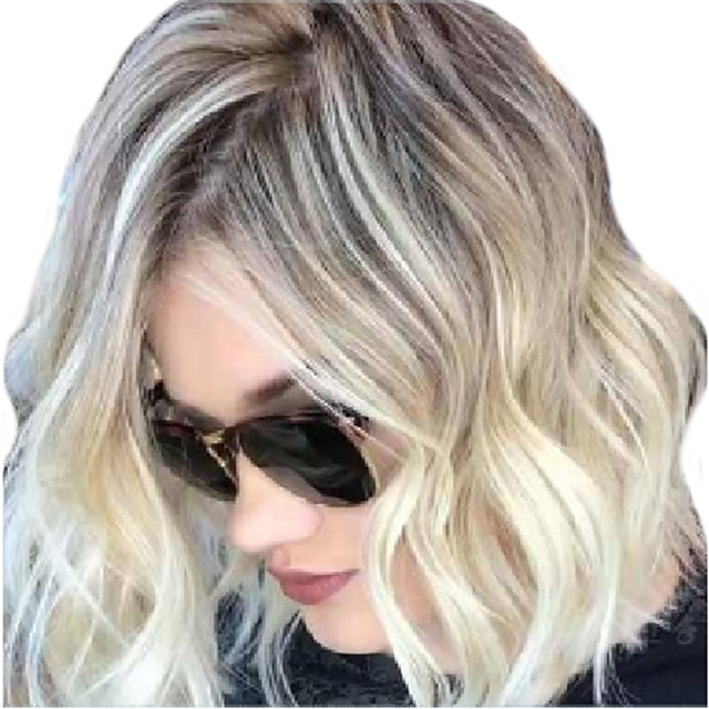 Synthetic Wig Curly Middle Part Wig Short Blonde Synthetic Hair Women's Ombre Hair Middle Part Romantic Blonde