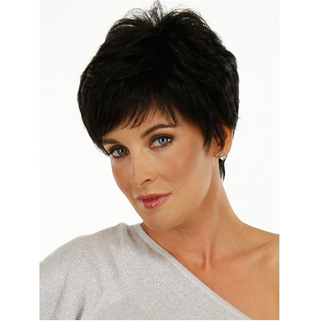 Synthetic Wig Curly Pixie Cut Wig Short Natural Black Synthetic Hair Women's Fashionable Design Classic Fluffy Black