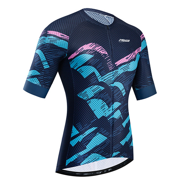 21Grams Women's Short Sleeve Cycling Jersey Summer Black / Blue Bike Jersey Top Mountain Bike MTB Road Bike Cycling UV Resistant Breathable Quick Dry Sports Clothing Apparel / Stretchy / Race Fit