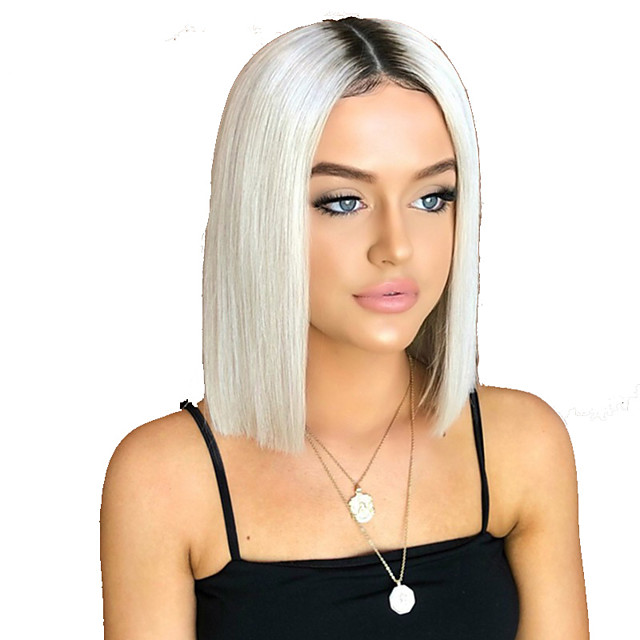 Synthetic Wig Straight kinky Straight Middle Part Wig Short White Synthetic Hair Women's Fashionable Design Easy to Carry Cool White