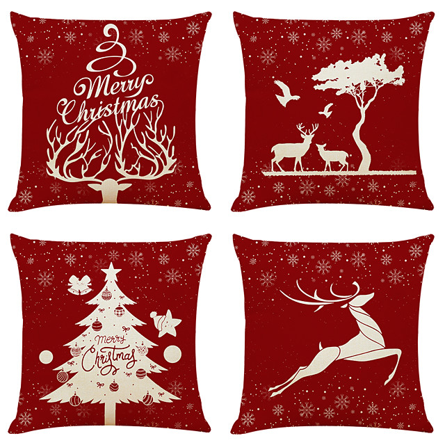 1 Set of 4 pcs Christmas Series Decorative Linen Throw Pillow Cover 18 x 18 inches 45 x 45cm For Home Decoration Christmas Decoration