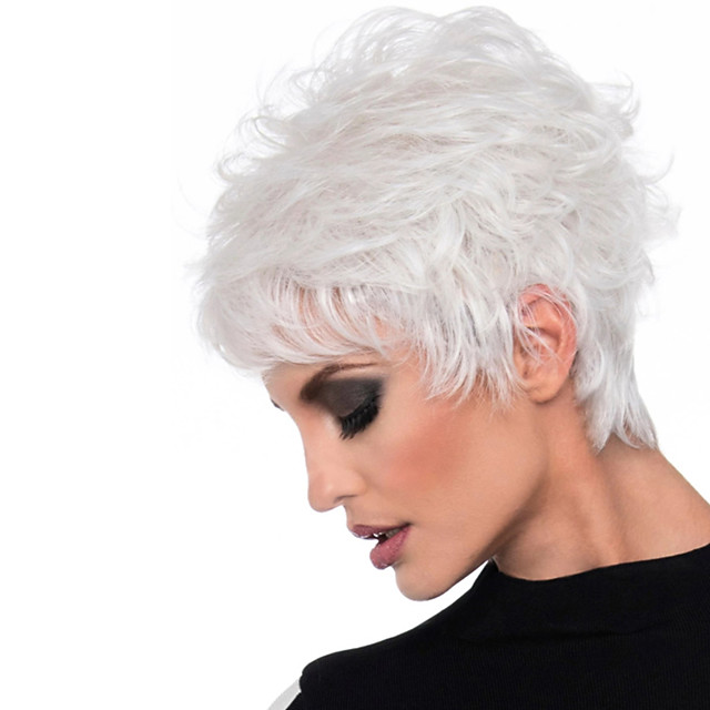 Synthetic Wig Loose Curl Asymmetrical Wig Short White Synthetic Hair 6 inch Women's Classic Exquisite Fluffy White
