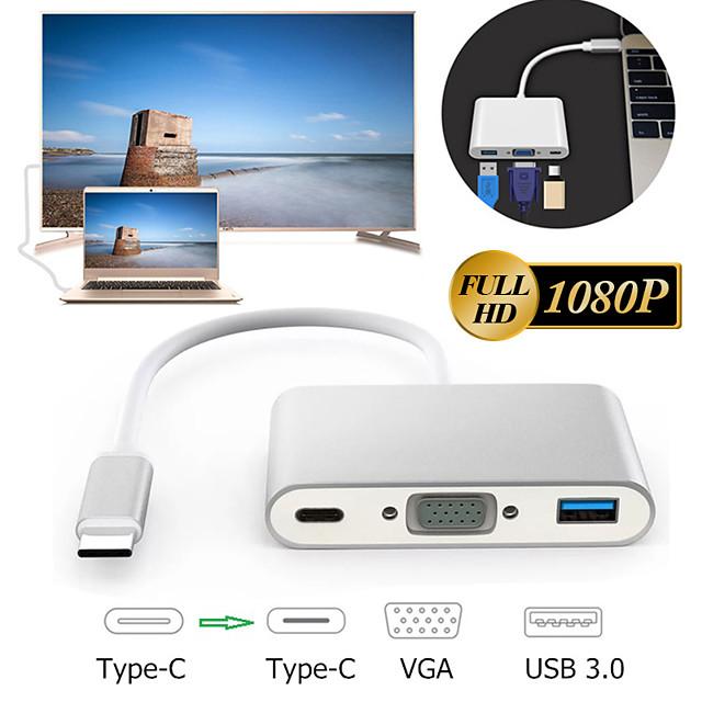 Type C to VGA USB 3.0 USB-C HDMI Converter Dock Google Projector Adapter HUB
