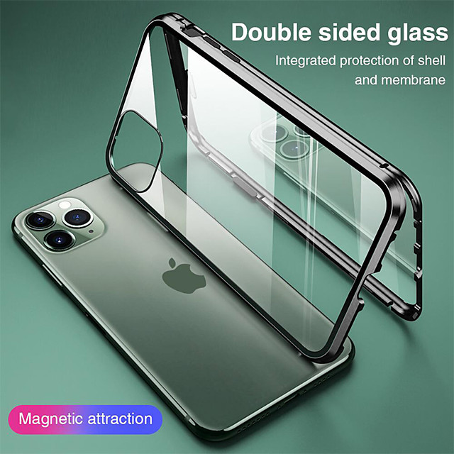 Magnetic Case for Apple iPhone 11 iPhone XR Double sided Glass 360 Protection Clear Protective Case Metal Magnet Adsorption Mobile Phone Case for iPhone SE2020 11Pro Max XSMax XS X 8 Plus 7 Plus