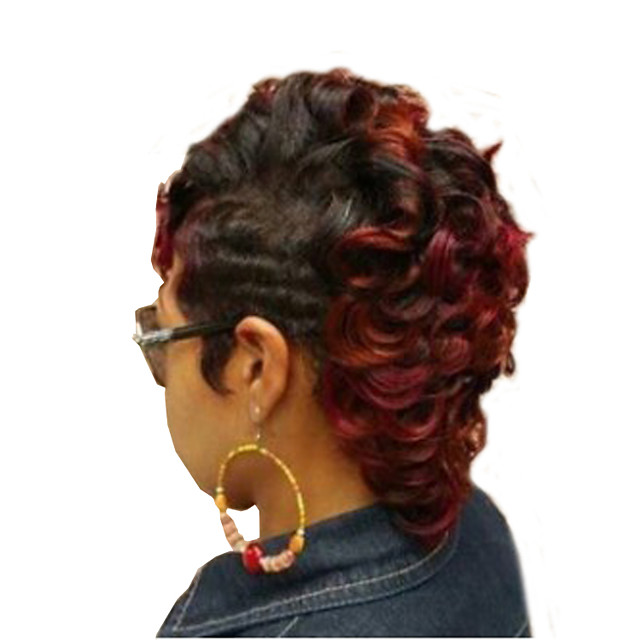 Synthetic Wig Curly Asymmetrical Wig Short Burgundy Synthetic Hair Women's Cool Highlighted / Balayage Hair Fluffy Burgundy