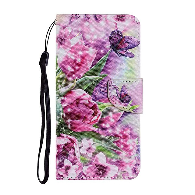 Case For Apple iPhone 12 iPhone SE 2020 11 Pro Max XS Max XR X 7 8 Plus 6 6s Plus Wallet Card Holder with Stand Full Body Cases Butterfly Flower PU Leather