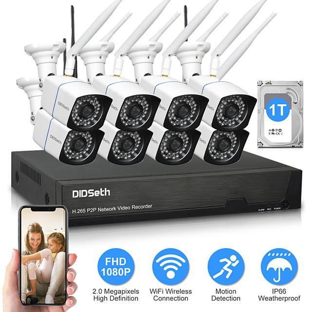 DIDSeth 8CH 2MP Wireless NVR Kit CCTV System 8PCS 1080P Outdoor AI Camera IR Cut Wifi IP CamSecurity Video Surveillance Kit