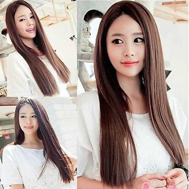 Synthetic Wig Straight Middle Part Wig Very Long Brown Red Royal Blue Synthetic Hair 26 inch Women's Cosplay Party Middle Part Blue Brown