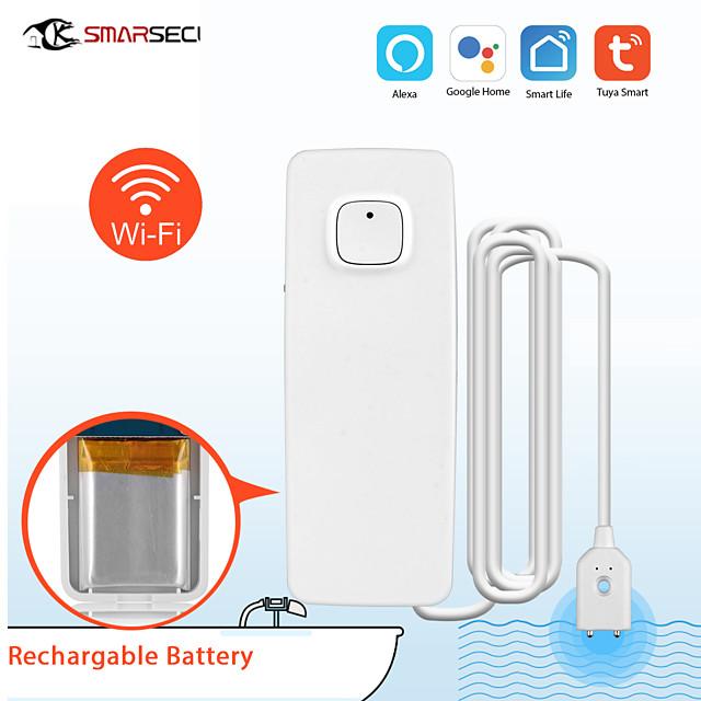 SMARSECUR Smart life Wireless Smart Rechargeable WiFi Water Leakage Detector APP Control Tuya Smart