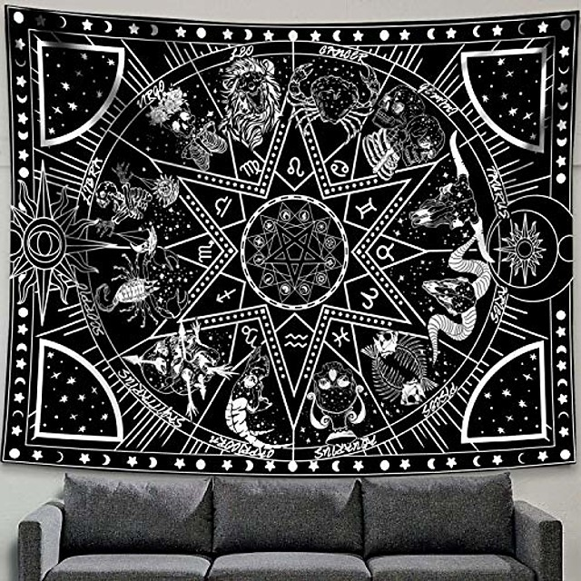 12 constellation tapestry star sun tarot tapestry black and white hippy celestialbohemian home decor & #40;60