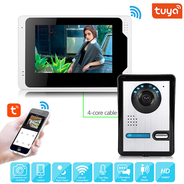 Wired Video Intercom System With Tuya 7 Inch Video Doorbell Door Phone Wired Video Door Phone HD 1080P Camera Kits Support Unlock Monitoring Dual-way Intercom for Villa Home Office Apartment