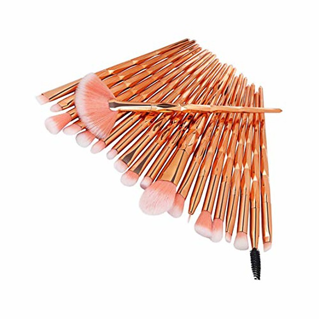 20 pieces makeup brush set professional face eye shadow eyeliner foundation blush lip makeup brushes powder liquid cream cosmetics blending brush tool(c)