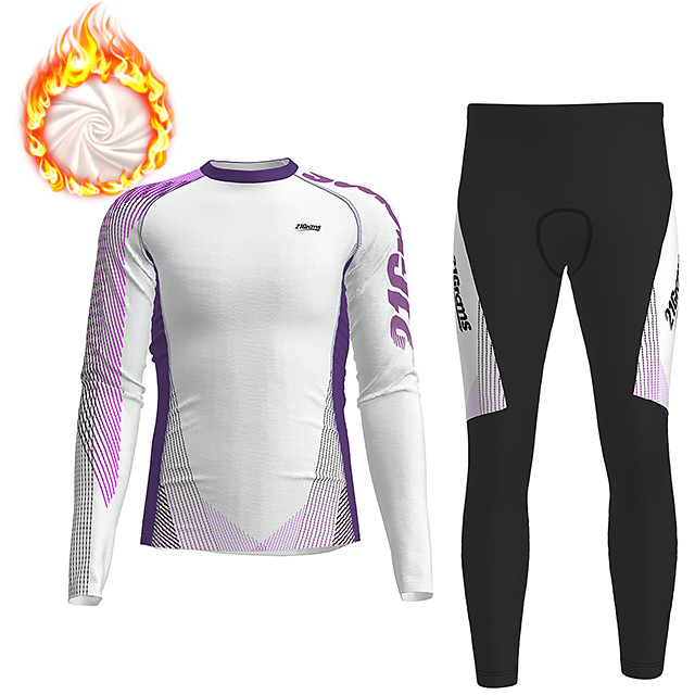 21Grams Men's Long Sleeve Cycling Jersey with Tights Winter Fleece Polyester White Gradient Geometic Bike Clothing Suit Thermal Warm Fleece Lining Breathable 3D Pad Warm Sports Gradient Mountain Bike