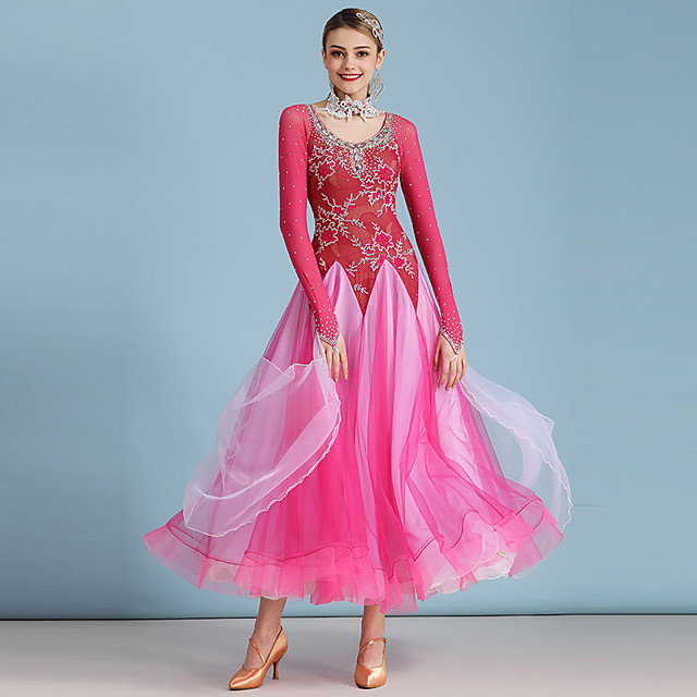 Ballroom Dance Dress Lace Crystals / Rhinestones Women's Performance Long Sleeve High Lace Organza Tulle