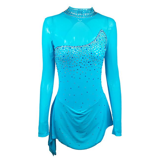 Figure Skating Dress Women's Girls' Ice Skating Dress Navy Patchwork Spandex High Elasticity Training Competition Skating Wear Handmade Crystal / Rhinestone Long Sleeve Ice Skating Winter Sports