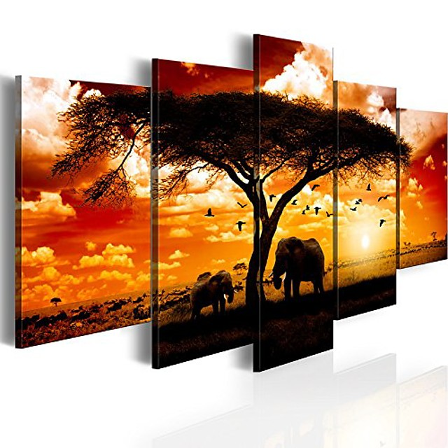 5 Panel African Elephant Print Painting on Canvas Wall Decor Art Animal Picture for Living Room Landscape Sunset Artwork Framed Ready to Hang
