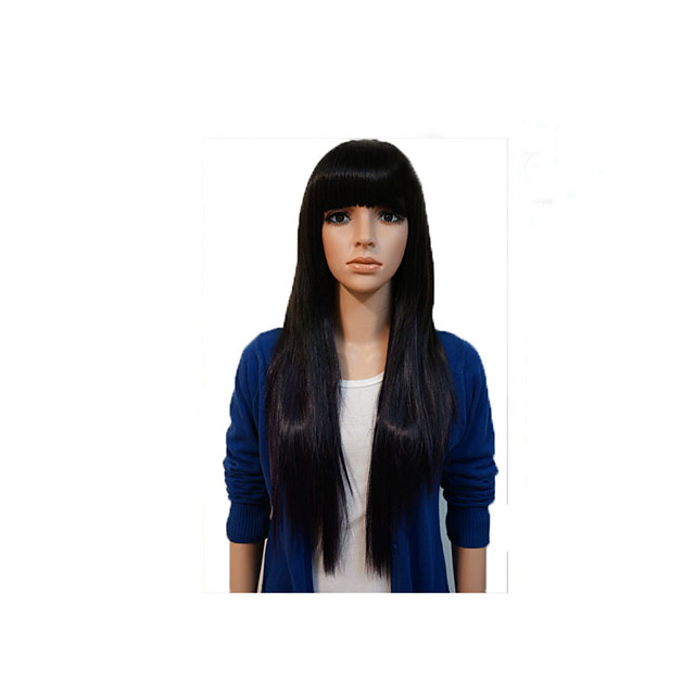 Synthetic Wig Straight Natural Straight Neat Bang Wig Very Long Black Synthetic Hair Women's Party Classic Wedding Black