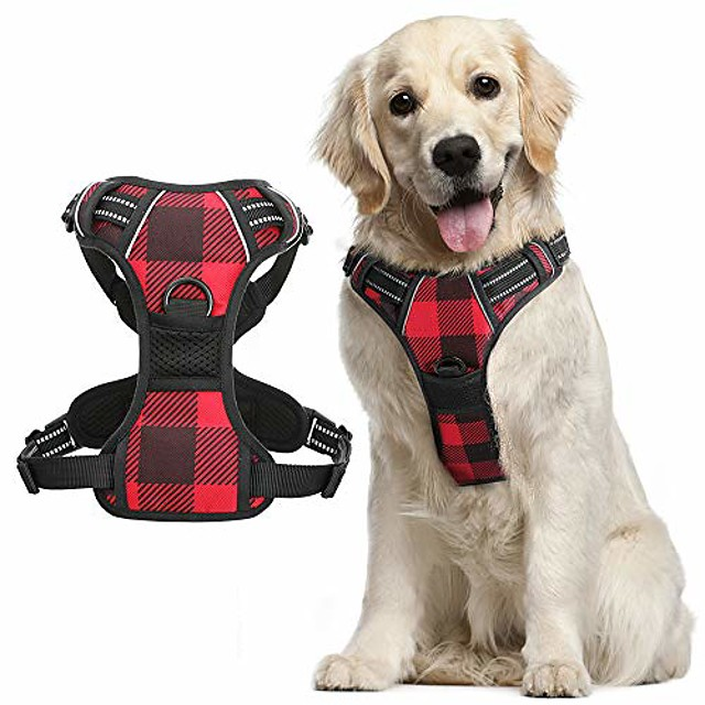 dog harness plaid for large dogs, no-pull dog walking harness with front back leash clips, adjustable padded dog chest harness, reflective easy dog vest harness w/handle (chest 20.5-36