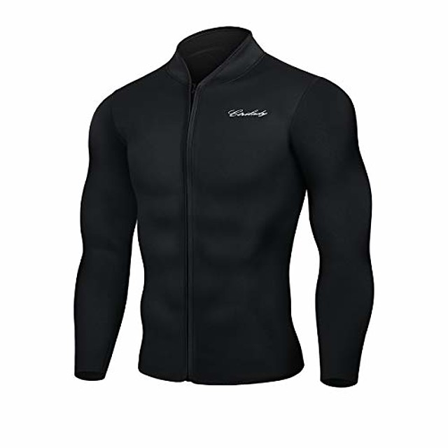 men's best neoprene wetsuit jacket front zipper long sleeves workout tank top for swimming snorkeling surfing (black, 3xl)