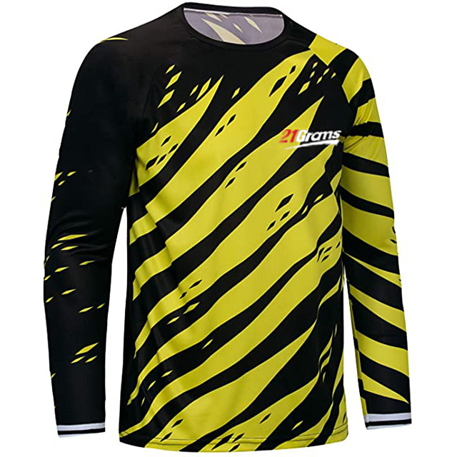 21Grams Men's Long Sleeve Cycling Jersey Downhill Jersey Dirt Bike Jersey Winter Polyester Yellow Blue Novelty Bike Top Mountain Bike MTB Road Bike Cycling Breathable Quick Dry Sports Clothing Apparel