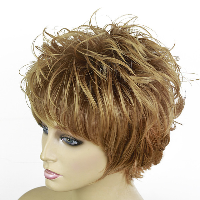 Synthetic Wig Curly Pixie Cut With Bangs Wig Short Blonde Synthetic Hair 12 inch Women's Ombre Hair Exquisite Fluffy Blonde