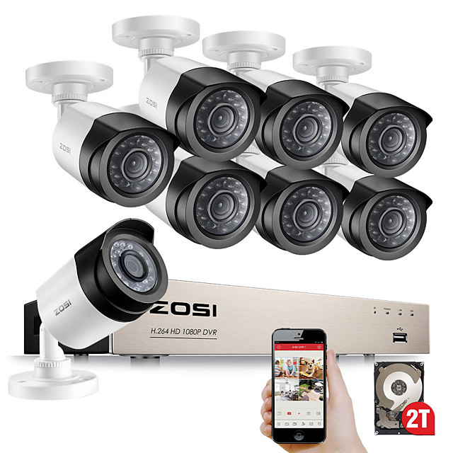 ZOSI 8CH 1080P Security Video DVR Kit 2MP Camera CCTV Surveillance System Night Vision Waterproof HDD Hard Disk Drive 2TB Motion Detection Remote Access TVI CVI AHD Analog
