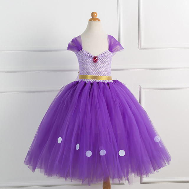 Princess Cosplay Costume Costume Girls' Movie Cosplay Tutus Plaited Vacation Dress Purple Dress Christmas Halloween Carnival Polyester / Cotton Polyester