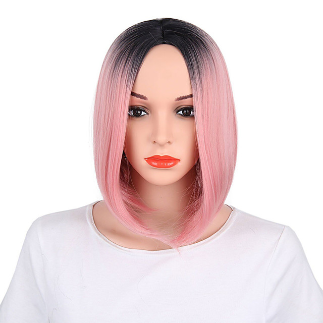 Synthetic Wig Straight Bob Middle Part Wig Short Pink Synthetic Hair Women's Anime Fashionable Design Party Pink / Ombre Hair