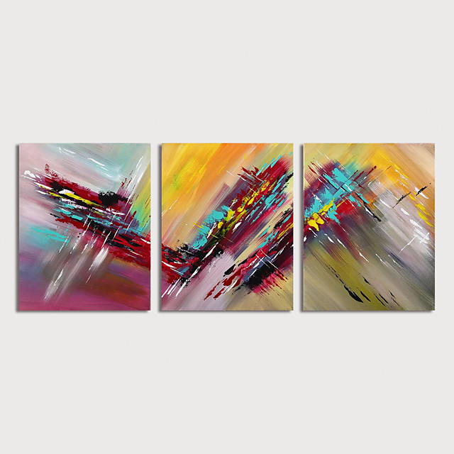 Oil Painting Hand Painted - Abstract Modern Stretched Canvas / Three Panels