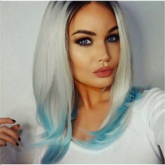Synthetic Wig Straight Middle Part Wig Short Grey Synthetic Hair 12 inch Women's Ombre Hair Highlighted / Balayage Hair Dark Gray
