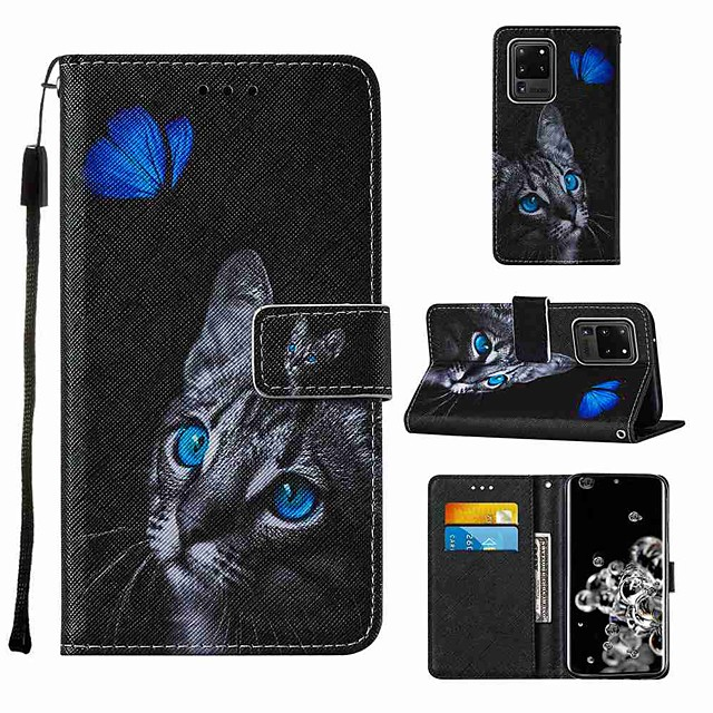 Case For Samsung Galaxy Note 20 Galaxy Note 20 Ultra Galaxy A21s Wallet Card Holder with Stand Full Body Cases Blue Butterfly Cat Eye PU Leather TPU for Galaxy A51 5G Galaxy A71 5G Galaxy S20 Ultra